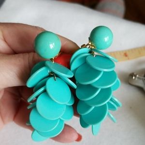 """3"""" TURQUOISE DANGLE clip-on earrings Vintage"""